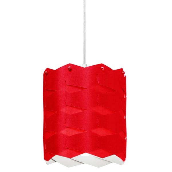 Dainolite 1-light Cross Hatch Pendant with Red Shade