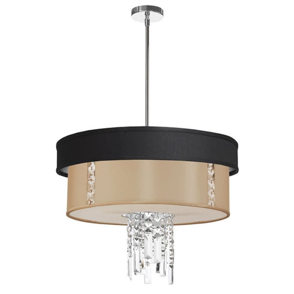 Dainolite 3-light Polished Chrome Crystal Pendant with Black/Silver & Cream Shade with 840 Diffuser