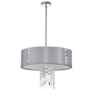 Dainolite 3-light Polished Chrome Pendant with Crystal Accents in Silk Glow Steel Drum Shade