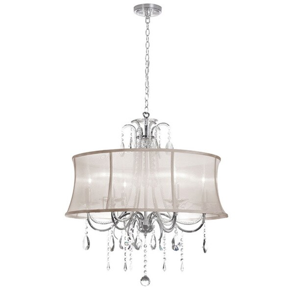 Dainolite 6-light Crystal Polished Chrome Chandelier in Oyster Organza Bell Shade 15900287