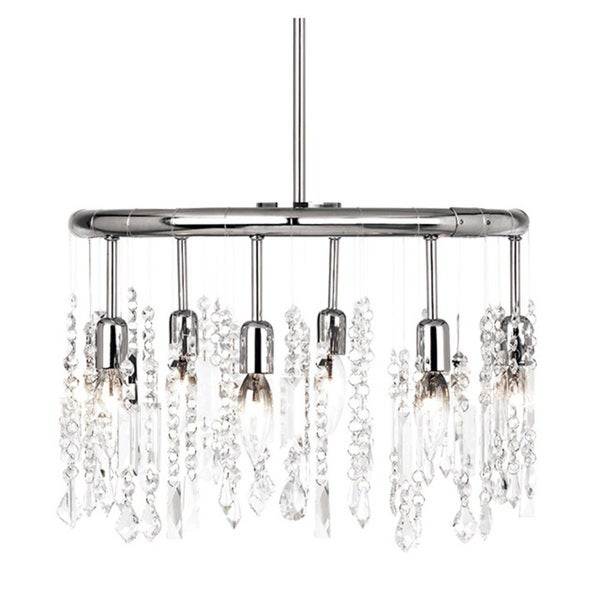Dainolite 6-light Polished Chrome Crystal Pendant 25 Strands Clear Crystal + 1 Centre