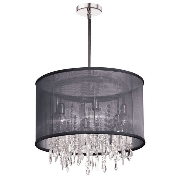 Dainolite 6-light Polished Chrome Crystal Pendant 30 Strands Clear Crystal + 1 Centre with Black Organza Drum Shade