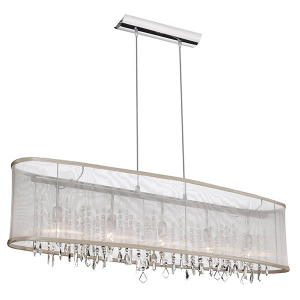 Dainolite 5-light Horizontal Crystal Polished Chrome Chandelier in Oyster Organza Oval Shade