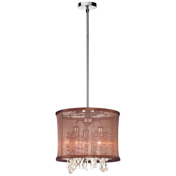 Dainolite 3-light Polished Chrome Crystal Pendant with Chocolate Brown Organza Shade
