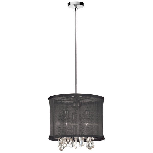 Dainolite 3 Lite Polished Chrome Crystal Pendant with Black Organza Shade
