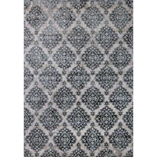 Cappella Floral Diamonds Ivory/ Blue Area Rug (5'3 x 7'7)