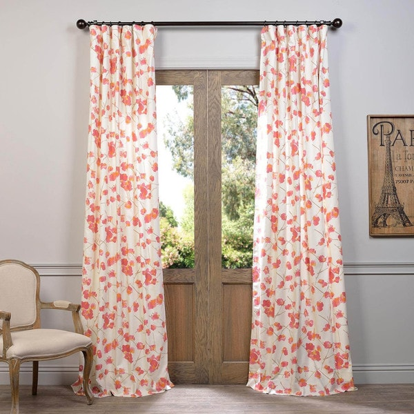 "Exclusive Fabrics Dogwood Printed Cotton Curtain Panel 120""L in Rose (As Is Item)"