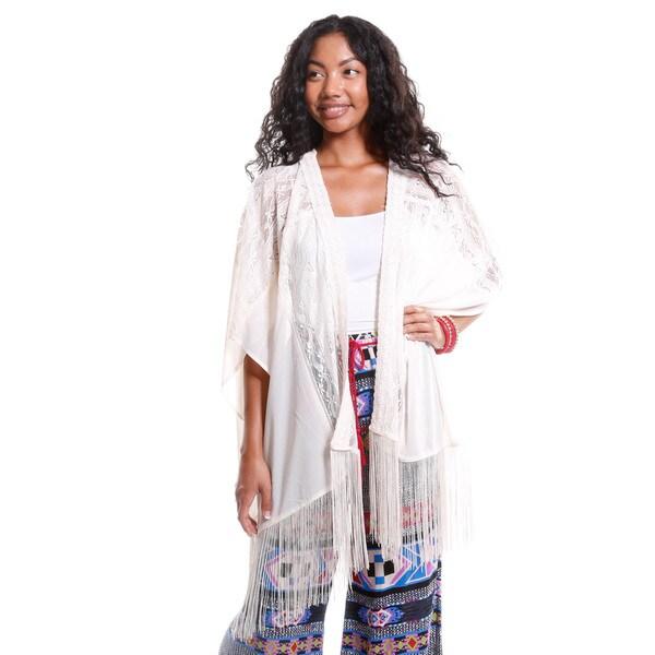 Hadari Women's Fringe Lace Kimono