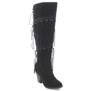 Betani Jocelyn-1 Women's Chunky Heel Stud Fringe Over the Knee High Boots