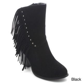 Betani Kimberly-6 Women's Fashion Stacked Heel Fringe Side Zip Mid Calf Boots