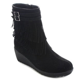 Betani Chantal-1 Women's Side Zip Fringe Wedge Ankle Booties