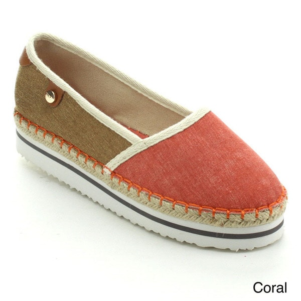 Betani Remi-1 Women's Two Tone Footbed Espadrille Slip Ons (As Is Item)