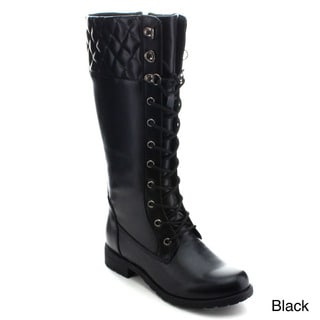 Betani Amber-6 Women's Lace Up Side Zip Knee High Combat Boots