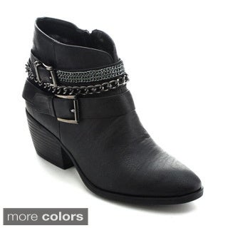 Betani Taylor-2 Women Metallic Chain Buckle Strap Side Zip Stacked Chunky Bootie