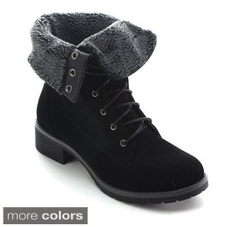 Betani Tammy-2 Women's Fold Over Cuff Combat Style Lace Up Ankle Booties
