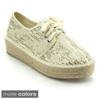 Betani Pricilla-1 Women's Comfort Platform Sequin Lace Up Eapadrille Sneakers