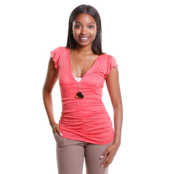 Hadari Women's Ruched V-Neck Top