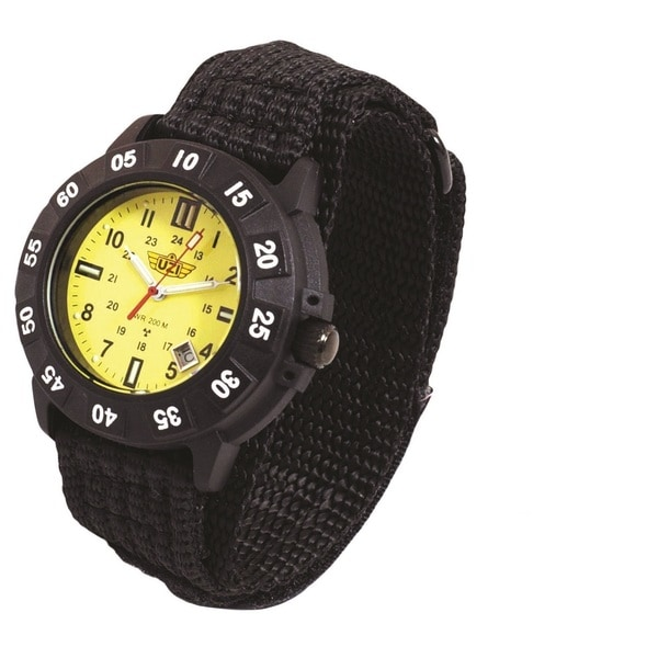 UZI Protector Tritium Watch with Yellow Face Nylon Strap