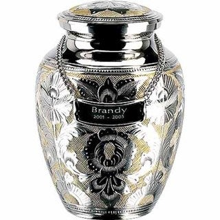 Elegante Silver Gold Solid Brass Cremation Urn with Case