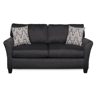 Sofab Shag II Pepper Love Seat With Two Accent Pillows