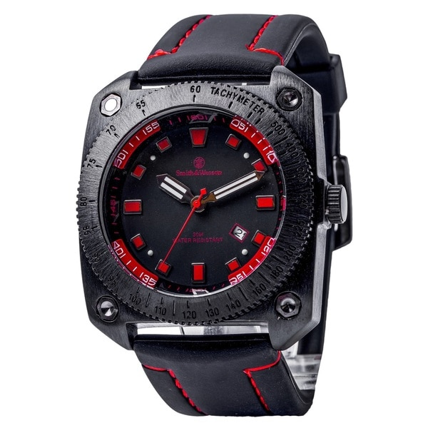 Smith and Wesson Flight Deck Watch with Red Rubber Strap