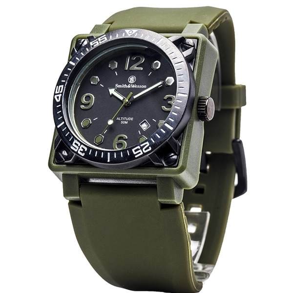 Smith and Wesson Altitude Watch with Black Dial Olive Rubber Band