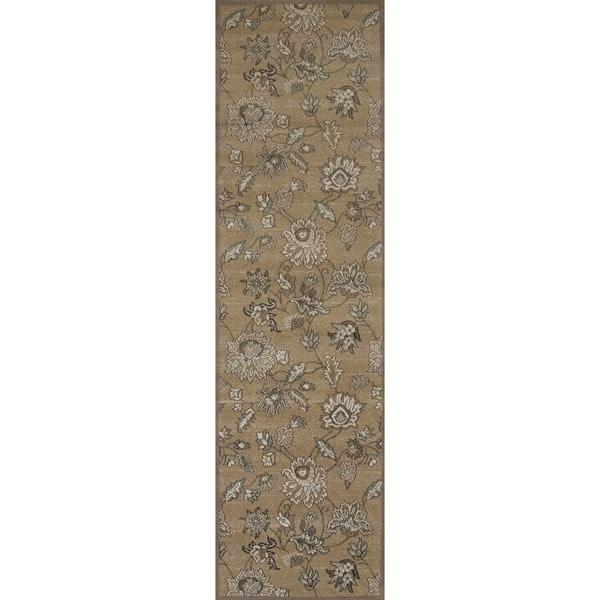 Plaza Floral Beige Runner Rug (2'2 x 7'7)