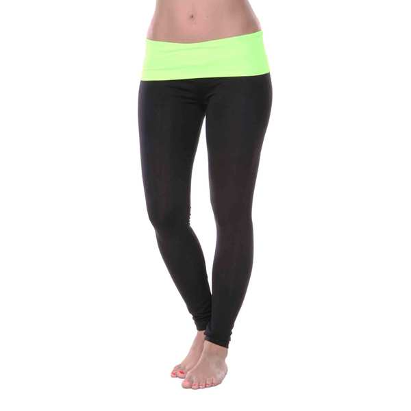 White Mark Women's Yoga Fold Over Leggings