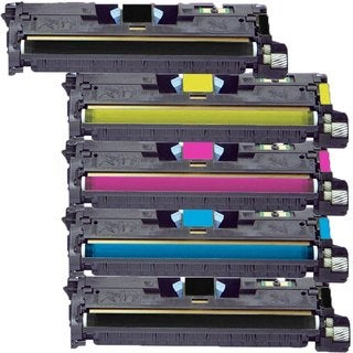 Compatible HP Q3960A Q3961A Q3962A Q3963A Black Cyan Magenta Yellow Toner Cartridge HP 2550 2550L 2550LN 2550N (Pack of 5)
