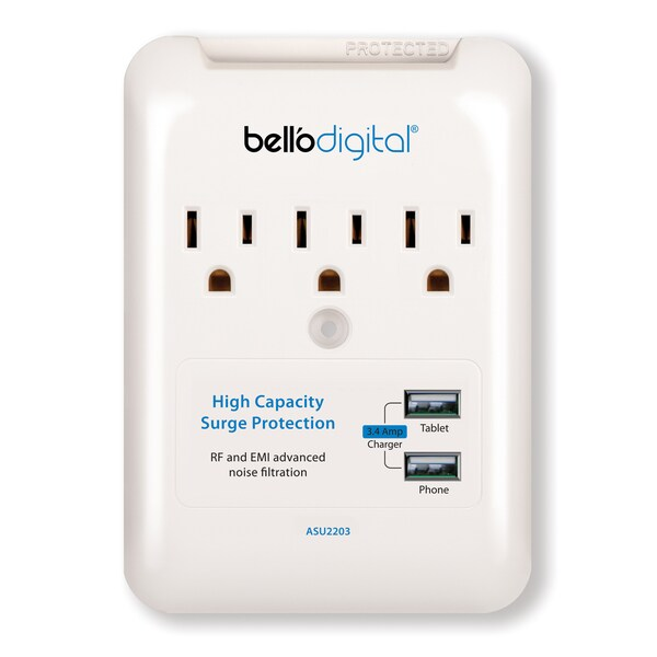 Bell'O Digital ASG3010 3-outlet/ 2 USB Ports Surge Protection Wall Plug
