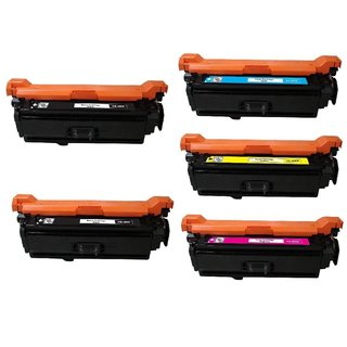 Compatible HP CE400X CE401A CE402A CE403A Black Cyan Magenta Yellow Toner Cartridge 500 M551n M551dn M551xh (Pack of 5)