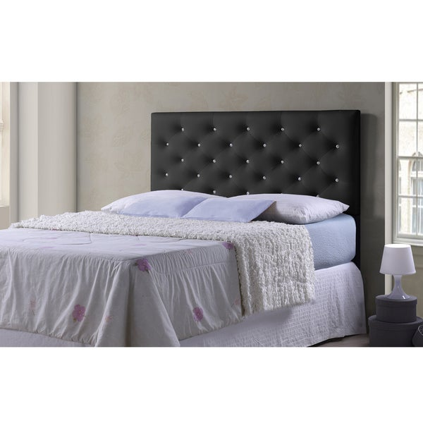 Viviana Modern and Contemporary Full/Queen Size Black Faux Leather Upholstered Crystal-tufted Headboard