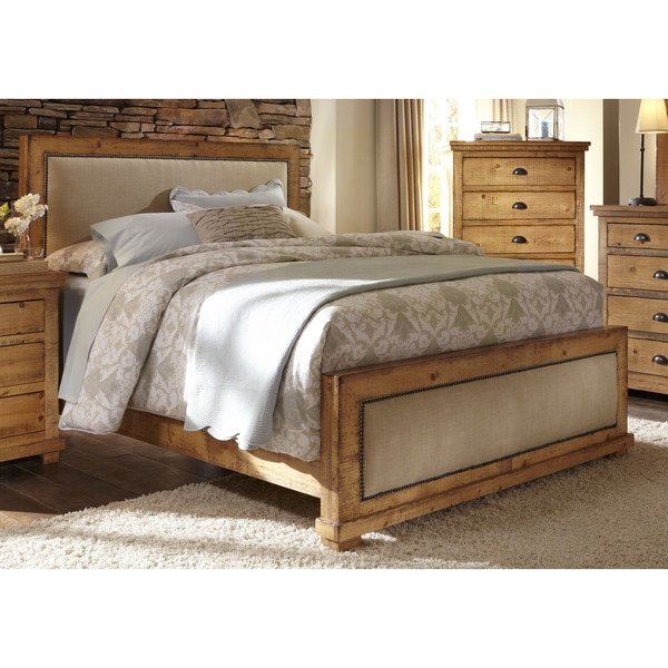 Willow Distressed Upholstered Pine Bed