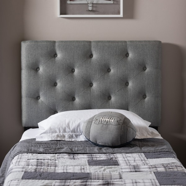 Contemporary Fullqueen Size Grey Upholstered Button Tufted Headboard