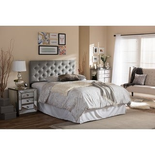 Viviana Modern and Contemporary Full/Queen Size Grey Upholstered Button-tufted Headboard