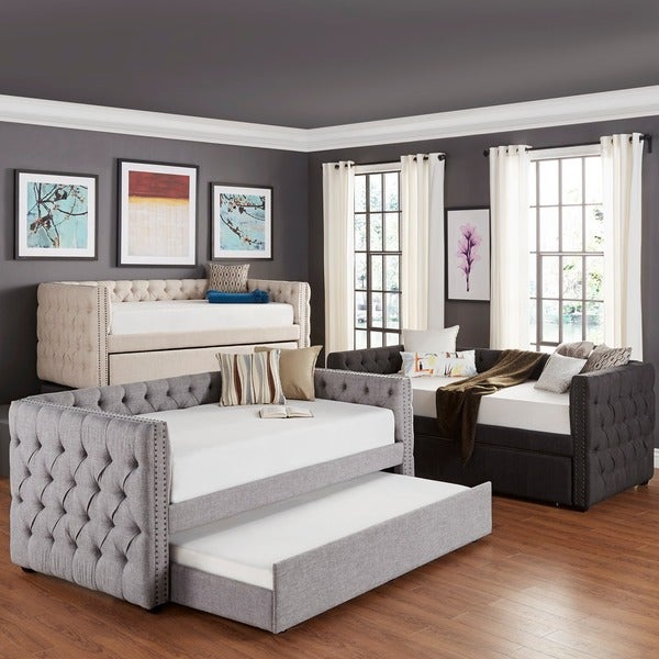 Tribecca Home Knightsbridge Tufted Nailhead Daybed with Trundle