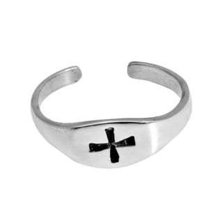 Simple Iron Cross .925 Silver Toe or Pinky Ring (Thailand)