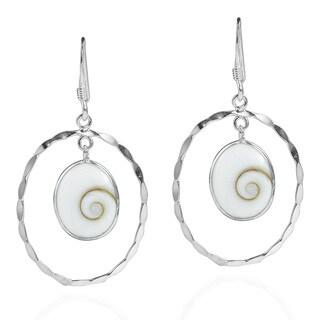 Frame Swirl Shiva Shell .925 Silver Dangle Earrings (Thailand)