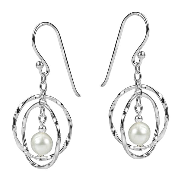 Textured Circle Mobile White Pearl 925 Silver Earrings (Thailand)