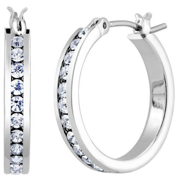 Rhodium-plated Crystal 20mm Hoop Earrings