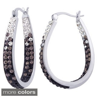Rhodium-plated Fade Crystal Inside Out Hoop Earrings