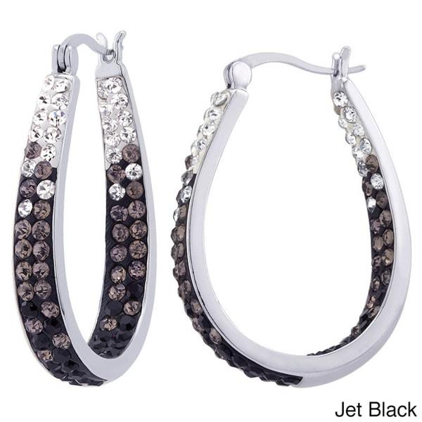 Rhodium-plated Fade Crystal Inside Out Hoop Earrings