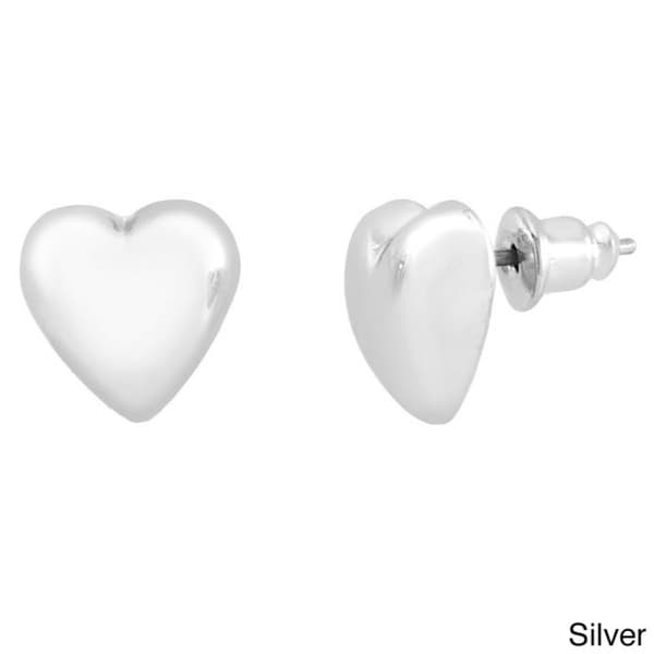 Rhodium-plated Silver Puffed Heart Stud Earrings