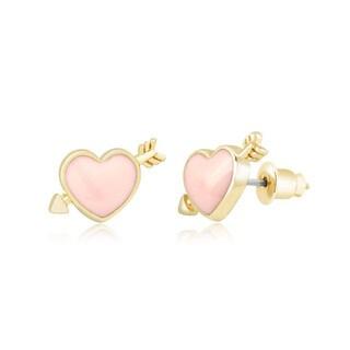 Goldplated Pink Shooting Heart Stud Earrings