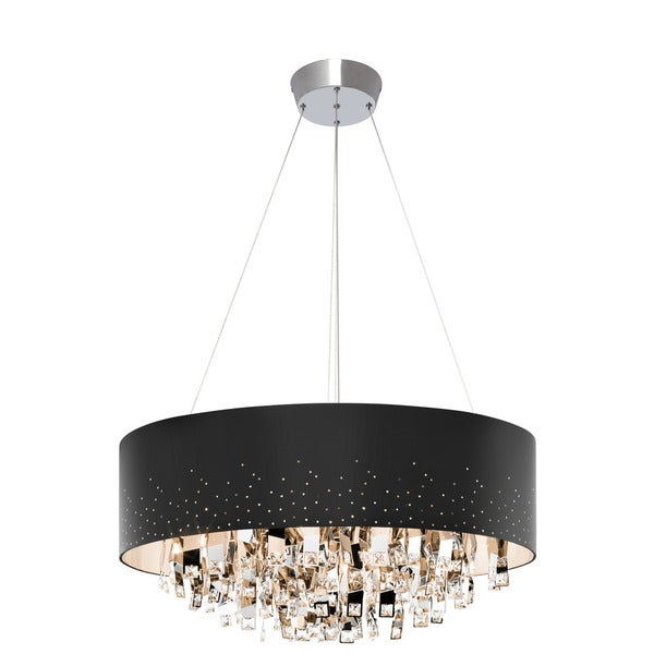 Kichler Lighting Vallo Collection 12-light Chrome Round Chandelier Black Shade