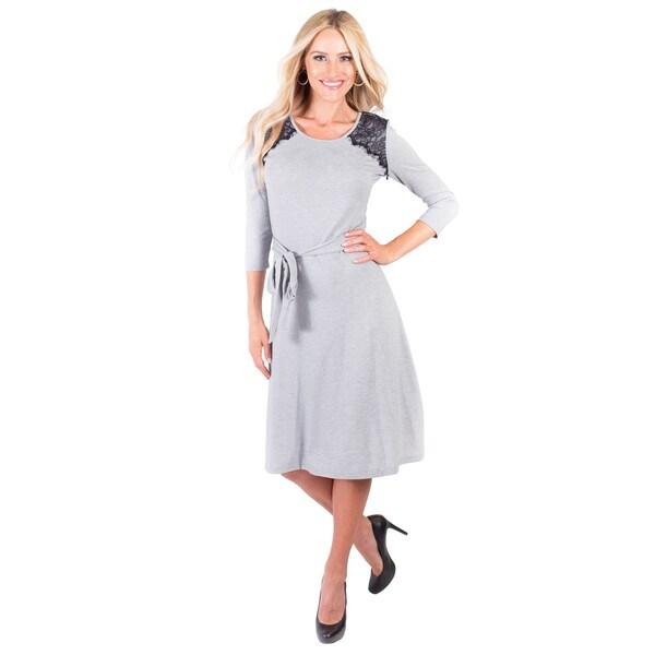 DownEast Basics Women's Lace Detail Fall Forward Dress
