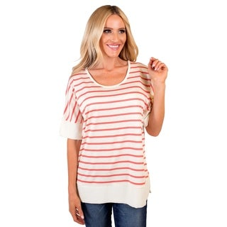 DownEast Basics Women's Striped Shoulder Drop Tunic