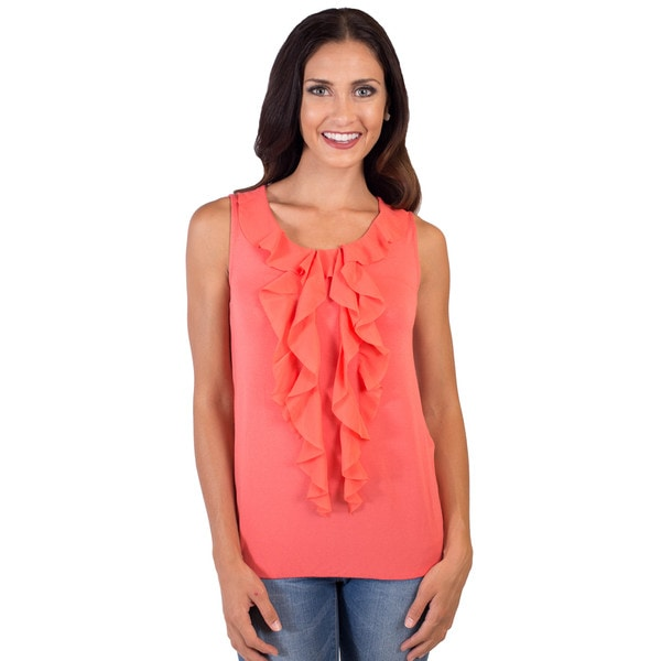 DownEast Basics Women's Ruffle Front Let Loose Tank
