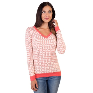 DownEast Basics Women's Jacquard Pattern Wallpaper Sweater