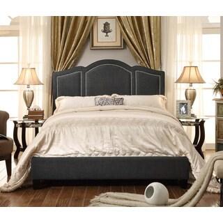 Moser Bay Furniture Belita Queen Size Linen Charcoal Waved Top Platform Bed